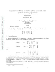 Uniqueness of solutions for elliptic systems and fourth order equations involving a parameter