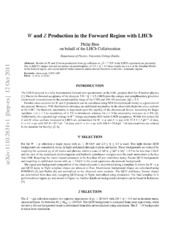 $W$ and $Z$ Production in the Forward Region with LHCb
