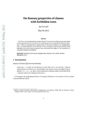 On Ramsey properties of classes with forbidden trees