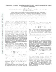 Commutator formalism for pairs correlated through Schmidt decomposition as used in Quantum Information