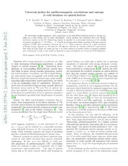 Universal probes for antiferromagnetic correlations and entropy in cold fermions on optical lattices