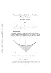 Variance of Linear Statistic for Plancherel Young Diagrams