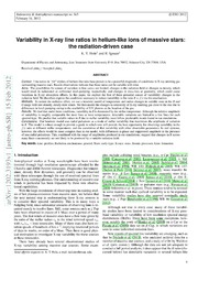 Variability in X-ray line ratios in helium-like ions of massive stars: the radiation-driven case