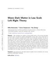 Warm Dark Matter in Low Scale Left-Right Theory