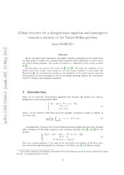 Global existence for a damped wave equation and convergence towards a solution of the Navier-Stokes problem