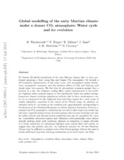 Global modelling of the early Martian climate under a denser CO2 atmosphere: Water cycle and ice evolution