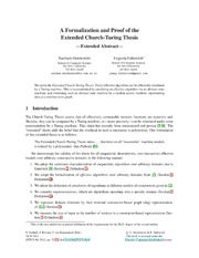 a formalization and proof of the extended church turing thesis The extended church-turing thesis) states that any reasonable known proof techniques, each of which is known to be insuffi-cient to prove that p ≠ np.