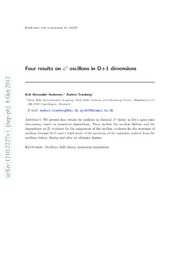 Four results on phi^4 oscillons in D 1 dimensions