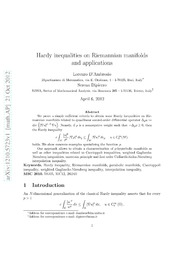 Hardy inequalities on Riemannian manifolds and applications