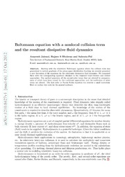 Boltzmann equation with a nonlocal collision term and the resultant dissipative fluid dynamics