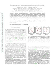 First passage times in homogeneous nucleation and self-assembly