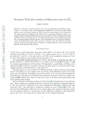Geometric Whittaker models and Eisenstein series for Mp 2