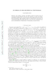On zeros of self-reciprocal polynomials