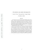 Loop invariants: analysis, classification, and examples