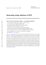 Generating string solutions in BTZ