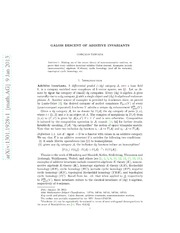 Galois descent of additive invariants