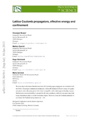 Lattice Coulomb propagators, effective energy and confinement