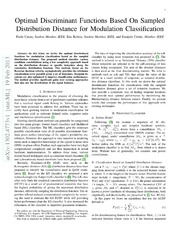 Optimal Discriminant Functions Based On Sampled Distribution Distance for Modulation Classification