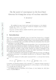 On the speed of convergence in the local limit theorem for triangular arrays of random variables