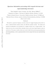 Quantum information processing with trapped electrons and superconducting electronics