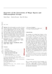 Overview of the Geometries of Shape Spaces and Diffeomorphism Groups