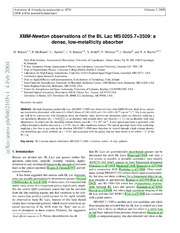 XMM-Newton observations of the BL Lac MS0205.7 3509: a dense, low-metallicity absorber