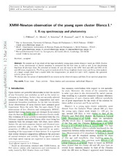 XMM-Newton observation of the young open cluster Blanco 1. I. X-ray spectroscopy and photometry