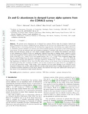 Zn and Cr abundances in damped Lyman alpha systems from the CORALS survey