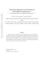 Variational Approach to the Dynamics of Bose-Einstein Condensates.I -Variational Ansatz and Quantum Dynamics