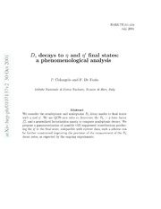 $D s$ decays to $η$ and $η^prime$ final states: a phenomenological analysis