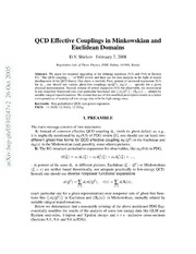 QCD Effective Couplings in Minkowskian and Euclidean Domains