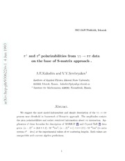 $π^ $ and $π^0$ Polarizabilities from {$γγ ightarrowππ$} Data on the Base of S-Matrix Approach