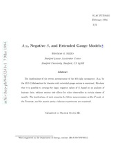 $A {LR}$, Negative $S$, and Extended Gauge Models