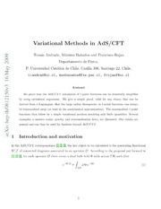 Variational Methods in AdS-CFT