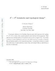$S^1 	imes S^2$ wormholes and topological charge