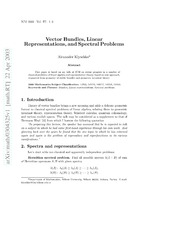 Vector bundles, linear representations, and spectral problems