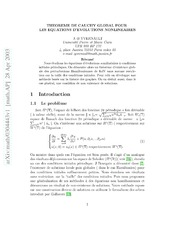 Theoreme de Cauchy global pour les equations d-evolution non-lineaires