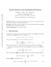 Jacobis Identity and Synchronized Partitions
