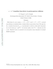 $ω- πγ^*$ transition form factor in proton-proton collisions