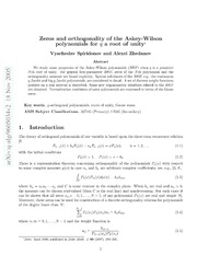 Zeros and orthogonality of the Askey-Wilson polynomials for q a root of unity