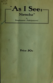 As I see: Nietsche