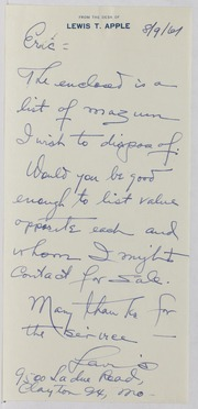 Eric P. Newman Assorted Correspondence and Ephemera File: AP to AU