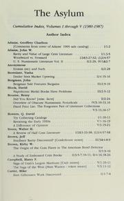 The Asylum Cumulative Index, Volumes I through V (1980-1987)