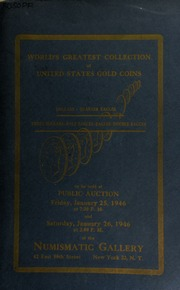 Auction catalogue 34-35 : world's greatest collection of United States gold coins ... [01/25/1946-01/26/1946]