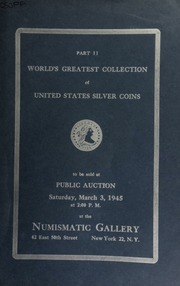Auction catalogue no. 30 : world's greatest collection of United States quarters and 20 cent pieces ... [03/03/1945]