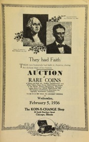 Auction of rare coins of silver and gold, etc., medals, transportation and other tokens, paper money, odd & curious money of the world, military decorations, ... numismatic literature, to be sold by mail to the highest bidder ... [02/05/1936]