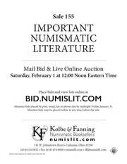 Auction Sale 155 Important Numismatic Literature