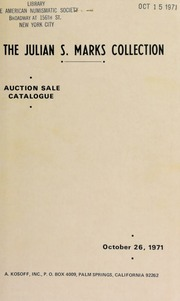 Auction sale catalogue : the Julian S. Marks collection ... [10/26/1971]