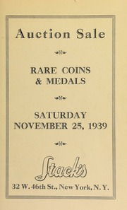 Auction sale : choice U.S., foreign and ancient coins ... [11/25/1939]