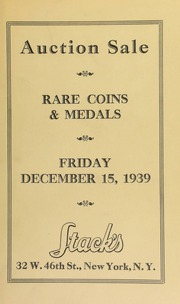 Auction sale : Choice U.S., foreign and ancient coins ... [12/15/1939]